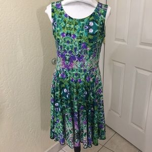 Cynthia Rowley fit and flare green & purple dress